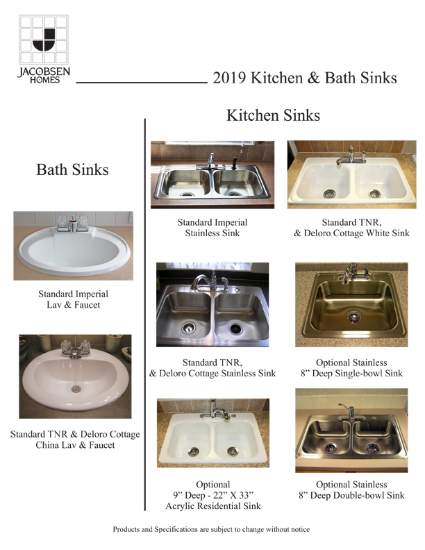 Jacobsen Homes Kitchen and Bath Sinks options