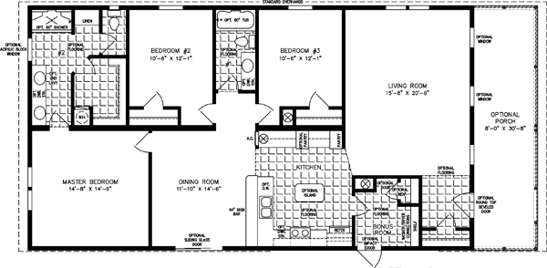 Manufactured home  Floor Plan: The Imperial • Model IMP-1562W  3 Bedrooms, 2 Bath
