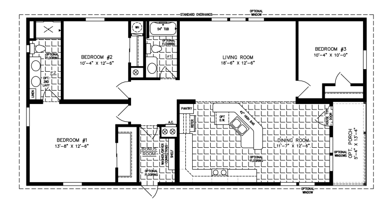 Manufactured home Floor Plan: The Imperial • Model IMP-6502B  3 Bedrooms, 2 Baths