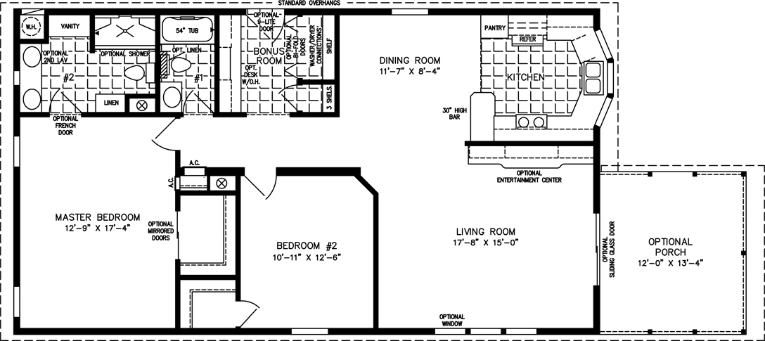 Manufactured home Floor Plan: The Imperial • Model IMP-3486B  2 Bedrooms, 2 Baths