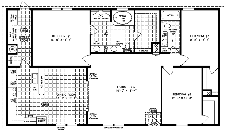 Manufactured Home Floor Plan: The Imperial | Model IMP-3522B  2 Bedrooms, 2 Baths