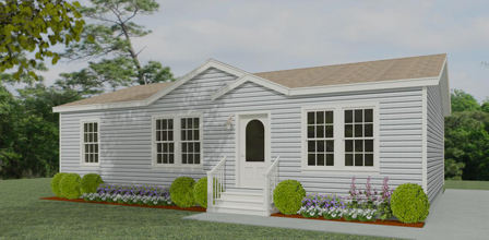 Exterior rendering Jacobsen Homes floor plan: model IMLT-4448B