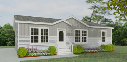 Rendering of a Jacobsen Home with half vertical siding and half horizontal siding