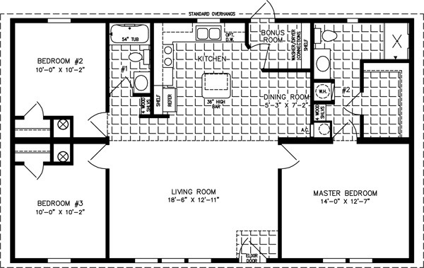 Manufactured home  Floor Plan: The Imperial Limited • Model IMLT-4448B  3 Bedrooms, 2 Baths