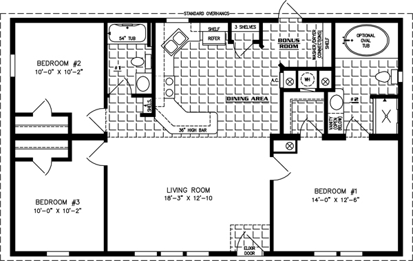 Manufactured Home Floor Plan: The Imperial Limited • Model IMLT-4449B  3 Bedrooms, 2 Baths