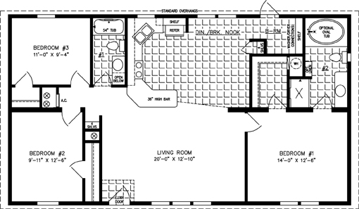 Manufactured home Floor Plan: The Imperial Limited • Model IMLT-44818B  3 Bedrooms, 2 Baths