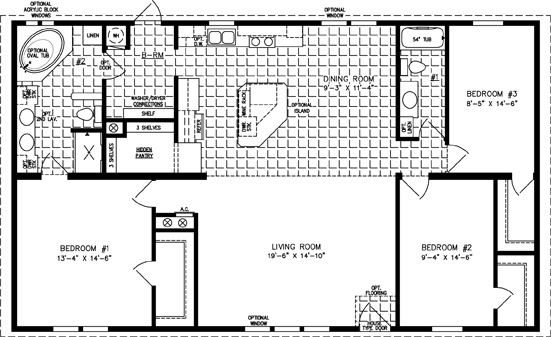 Manufactured Home Floor Plan: The Imperial • Model IMP-45214W  3 Bedrooms, 2 Baths