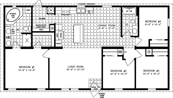 Elegant Manufactured Home Floor Plan: The Imperial Limited U2022 Model IMLT 45215B 4  Bedrooms, ...