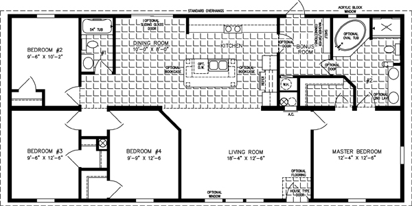 Manufactured Home Floor Plan: The Imperial • Model IMP-45618B  4 Bedrooms, 2 Baths