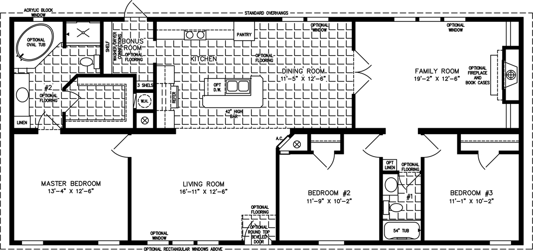 Manufactured Home Floor Plan: The Imperial • Model IMP-46022B  3 Bedrooms, 2 Baths
