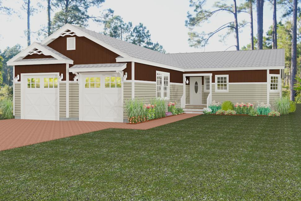 Exterior rendering Jacobsen Homes Floor Plan TNR-7402 with two-car garage