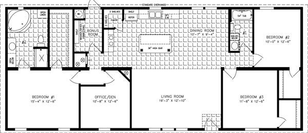 Manufactured Home Floor Plan: The Imperial Limited • Model IMLT-46412B  3 Bedrooms, 2 Baths