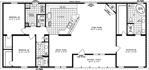 Manufactured Home  Floor Plan: The T N R • Model TNR-46816W  3 Bedrooms, 2 Baths
