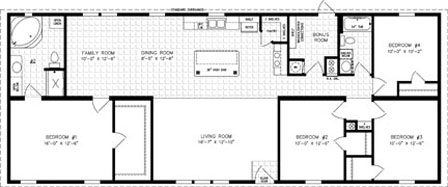 Manufactured home Floor Plan: The Imperial Limited • Model IMLT-46820B  4 Bedrooms, 2 Baths