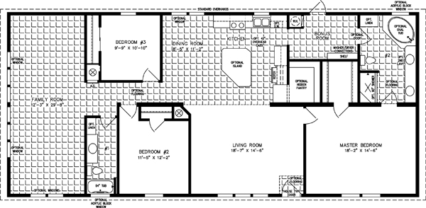 Manufactured Home Floor Plan: The Imperial • Model IMP-46822W  3 Bedrooms, 2 Baths