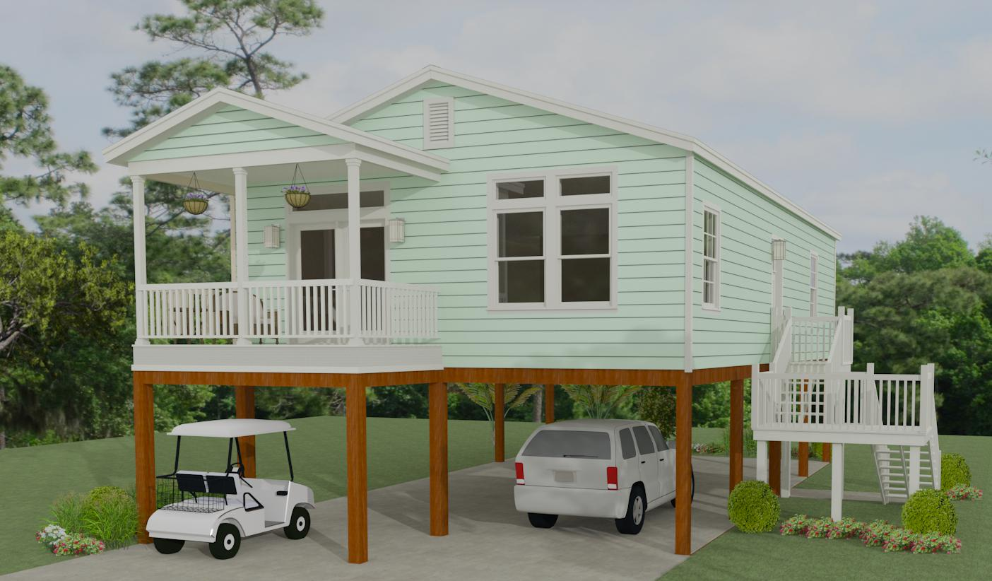 Exterior rendering of The Imperial Model IMP-2403A  manufactured home on stilts