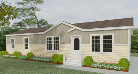 Exterior rendering Jacobsen Homes floor plan with a dormer and eyebrow and half vertical and half horizontal siding