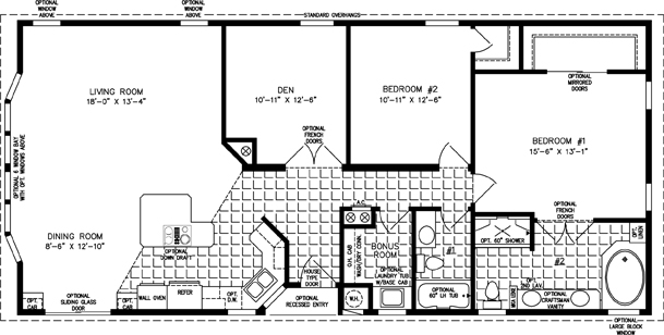Manufactured Home Floor Plan: The TNR • Model TNR-5572B  2 Bedrooms, 2 Baths