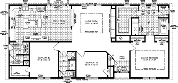 Manufactured Home Floor Plan: The Imperial • Model IMP-5661W  3 Bedrooms, 2 Baths