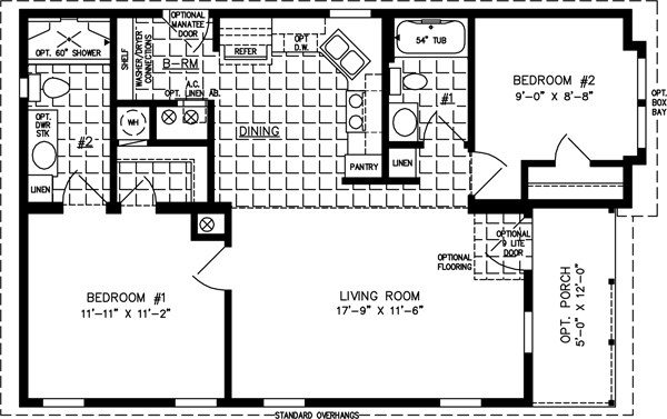 Manufactured home  Floor Plan: The Imperial Model IMP-6371A