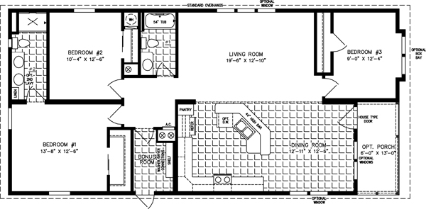 Manufactured Home Floor Plan: The Imperial U2022 Model IMP 6502B 3 Bedrooms, ...