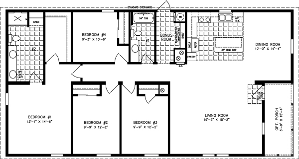 Manufactured Home Floor Plan: The Imperial Limited • Model IMLT-6602W  4 Bedrooms, 2 Baths