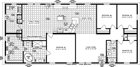 Four Bedroom Two Bath Floor Plan with Family Room
