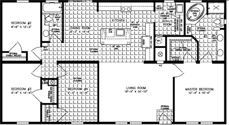 Four Bedroom, Two Bath with open kitchen