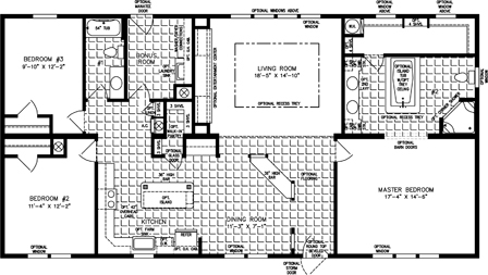 Three bedroom two bath floor plan with large Master Bath and Closet