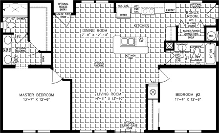 Two Bedroom Two Bath split floor plan