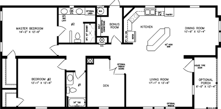Two Bedroom Two Bath with Den and Front Entry Porch
