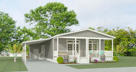 Rendering of a Jacobsen Home with a full front porch and carport