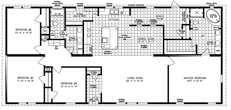 Manufactured Home Floor Plan: The Imperial | Model IMP-46820W  4 Bedrooms, 2 Baths