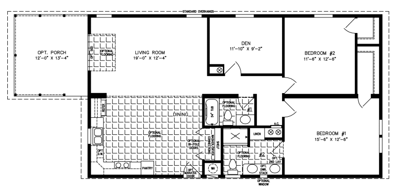 Two bedroom two bath with Den Front Kitchen and half front porch