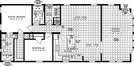Two Bedroom Two Bath shown with Optional Veranda Room