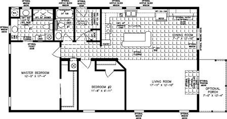 Two Bedroom Two Bath open floor plan with front porch
