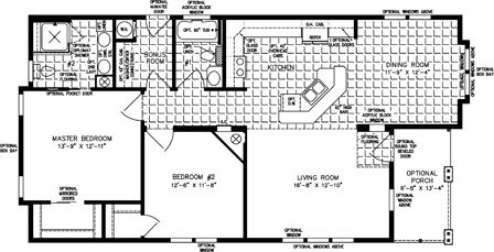 Two Bedroom Two Bath Open floor plan with Porch Entry