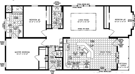 Three Bedroom Two Bath floor plan with Front Porch Entry