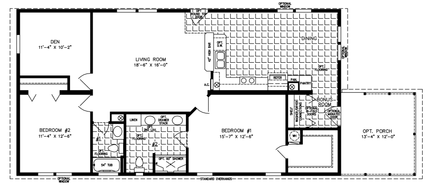 Manufactured Home Floor Plan: The Imperial • Model IMP-4444B-235  2 Bedrooms, 2 Baths