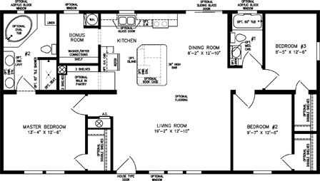 Three Bedroom Two Bath Open Floor Plan with Walk in Pantry
