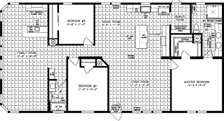 Three Bedroom Two Bath floor plan with Large Family Room