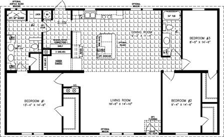 Three Bedroom Two Bath floor plan with hidden Pantry