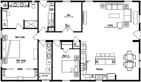 Two Bedroom Two Bath with Den