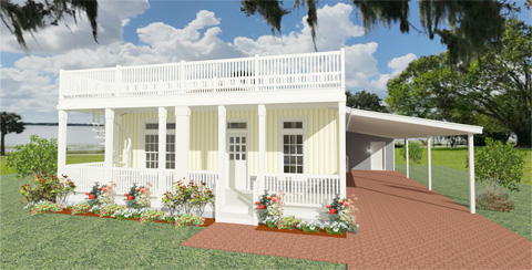 Rendering of a Home with a roof top porch