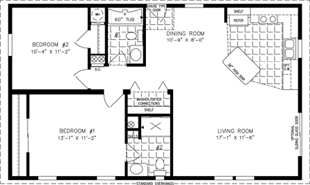 Manufactured Home Floor Plan: The Imperial Limited • Model IMLT-3404A  2 Bedrooms, 2 Baths