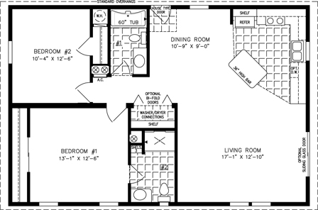 Manufactured home floor plan: The Imperial Limited Model IMLT-3404B 2 Bedrooms, 2 Baths