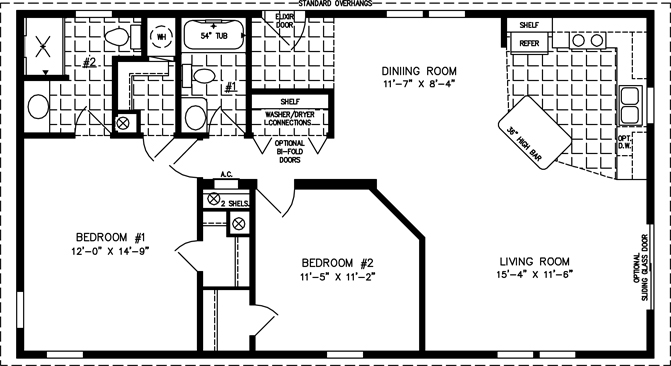 Manufactured home Floor Plan: The Imperial Limited Model IMLT-3449A  2 Bedrooms, 2 Baths