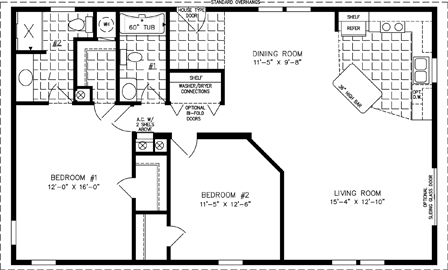 Manufactured Home Floor Plan: The Imperial Limited  Model IMLT-3449B  2 Bedrooms, 2 Baths