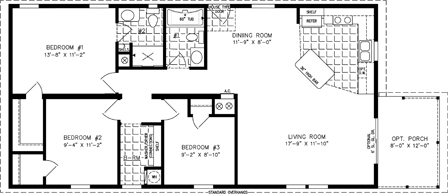 Manufactured Home Floor Plan: The Imperial Limited | Model IMLT-3487A  3 Bedrooms, 2 Baths