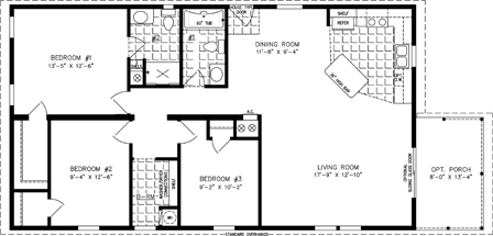 Manufactured home Floor Plan: The Imperial Limited • Model IMLT-3487B  3 Bedrooms, 2 Baths